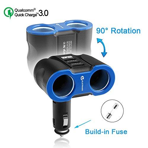 Quick Charge 3.0 Caricabatterie da Auto, Eletrand 12V/24V 2-Presa Accendisigari per Auto Adattatore con 3 Porta USB (QC 3.0 + Smart USB 2.0) per Smart Phones, Tablets, GPS etc