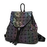 Luminous Rucksack Geometrische Diamantgitter Tasche Leder Nachtleuchtende Rucksack Für Teenager Mädchen Große Reisetaschen T020 Noctilucent A