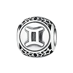 Idea Regalo - Bead SEGNO ZODIACALE in argento Sterling 925 ciondoli Pandora, braccialetti europei compatibile (Air Sign Gemini)
