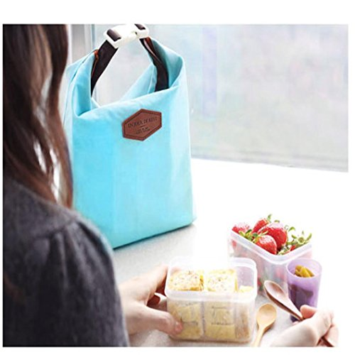 Hkfv creative Fashion design pranzo Keep Warm borse impermeabile termica lunch box Portable borsa tote Storage picnic, Nylon, Pink, Size:28cm×24cm×9cm Blue