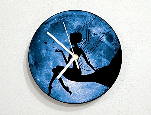 Butterfly Wings Fairy - Blue Full Moon - Pixie Dust Magic - Universe Stars Space Galaxy Solar Planet - Custom Name Wall Clock (Blue Fairy Wings)
