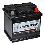HR HiPower Autobatterie 12V 46Ah 380A/EN Starterbatterie ersetzt 36Ah 40Ah 42Ah 43Ah 44Ah 45Ah 48Ah 50Ah