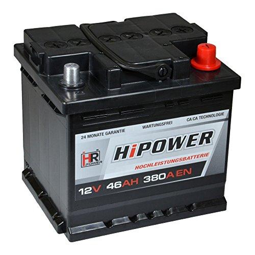 Preisvergleich Produktbild HR HiPower Autobatterie 12V 46Ah 380A / EN Starterbatterie ersetzt 36Ah 40Ah 42Ah 43Ah 44Ah 45Ah 48Ah 50Ah