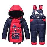 Bambini Bambini Neonati 90% Warm Enduro Set Giacche invernali Giacca invernale Giù Giacca + Pantaloni (3T-4T, Red)