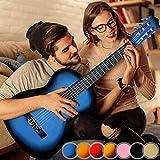 Guitare Classique - pour Adulte, 4/4, avec 6 Cordes de Nylon, en Bois, Idéale pour Débutant, Couleurs au Choix - Guitare Acoustique, Instrument à Cordes (Bleu)