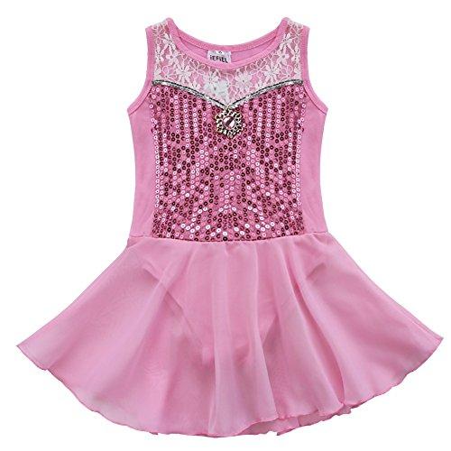 er Ballettanzug-Kleid Gymnastikanzug Turnanzug Ballett Trikot Tanz Kleidung (Rosa, 116) (Ballerina Kleidung Für Mädchen)