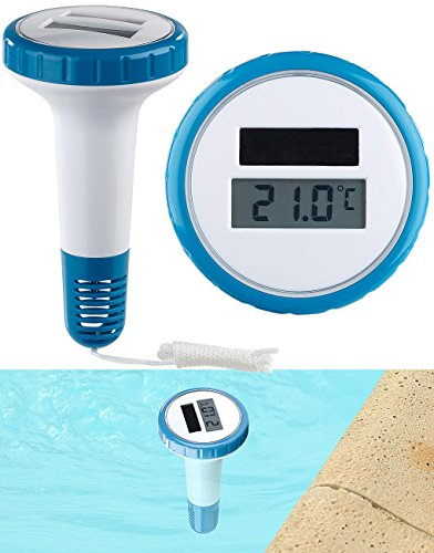 FreeTec Schwimmbad Thermometer: Digitales Solar-Teich-& Poolthermometer, LCD-Anzeige, wasserdicht IPX7 (Badethermometer)