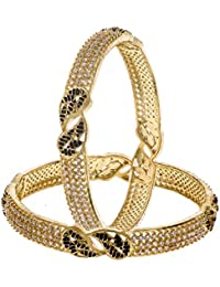 Zeneme Antique Leaf Shaped American Diamond Studded Handmade Bangle Set Jewellery For Women And Girls