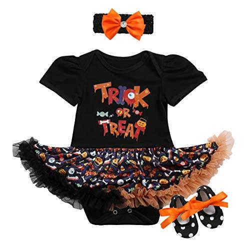 OBEEII Baby Mädchen 1. Halloween Kostüm Kürbis Schädel Strampler Rüschen Tutu Rock mit Stirnband Schuhe Weihnachten Allerheiligen Cosplay Partei Kleid für Neugeborene Kleinkind 3-18 Monate