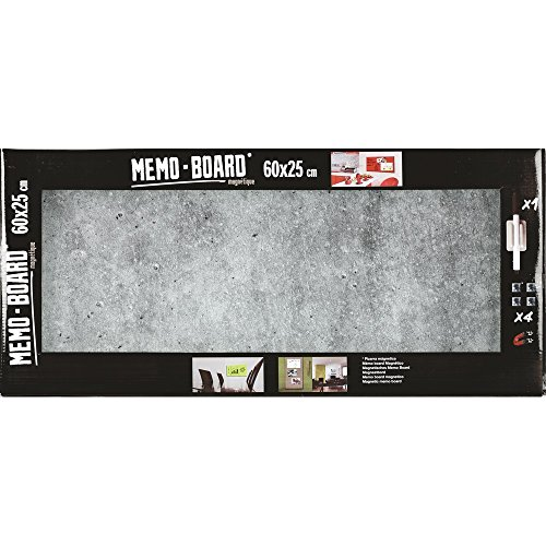 Brio 34561 MEMO Board Tableau MAGNETIQUE Beton 25X60CM, Verre, Gris, 4 x 25 x 60 cm