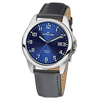 ATRIUM Herren-Armbanduhr robust Analog Quarz Edelstahl 10 bar Datum Lederband A16-15