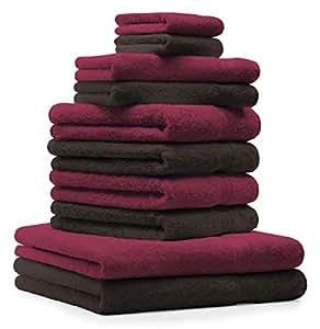 10 tlg. Handtuch Set Premium Farbe Dunkel Rot & Dunkel Braun 100% Baumwolle 2 Duschtücher 4 Handtücher 2 Gästetücher 2 Waschhandschuhe
