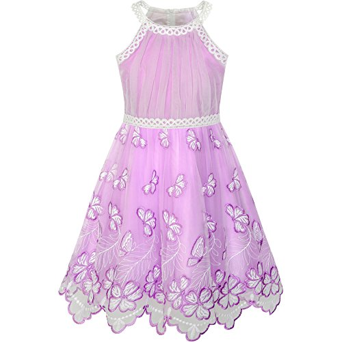 Mädchen Kleid Lila Schmetterling Bestickte Halfter Kleiden Gr. 104 (Mädchen-kleid Bestickte)
