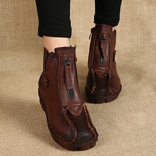 HSXZ Scarpe donna Vacchetta Autunno Inverno Comfort stivali tacco basso Round Toe stivaletti/stivaletti di abbigliamento casual marrone Viola nero Black