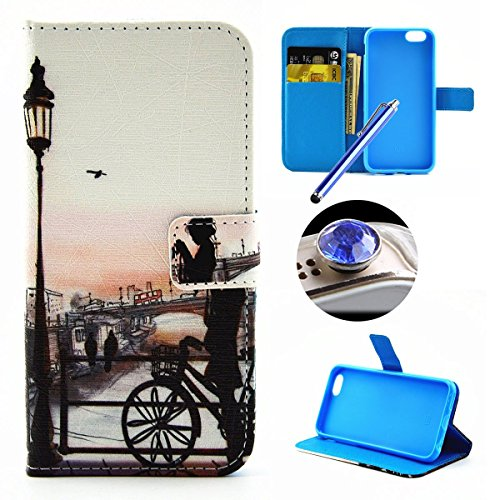 Etsue Coque Coquille pour Apple iPhone 6/6S 4.7,PU Cuir Cover Housse pour Apple iPhone 6/6S 4.7,Leather Flip Case shell pour Apple iPhone 6/6S 4.7,Folio Portefeuille Wellet étui Cas pour Apple iPhone  Fille