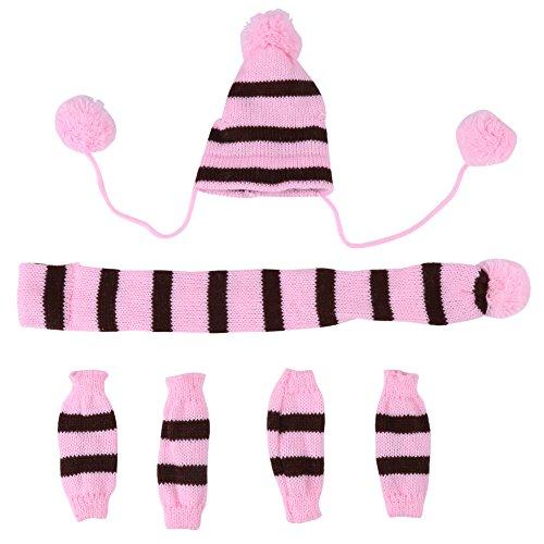 Zouminy 6Pcs Herbst-Winter-Hundehaustier-Hut-Schal-Bein-Klage-Wärmer-niedliches Kleidungs-Kostüm für kleine Hunde(S-Rosa)