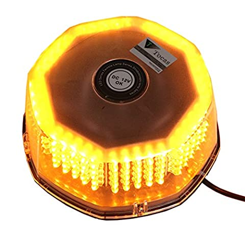 T Tocas 240 LED Warning Flash Light Mini Bar with Cigarette Lighter Strong Magnetic Base for Auto Boat Top, Amber, DC12V