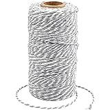 G2PLUS 100 M Grijs en Wit Craft Bakers Twine 2 MM Katoen Tuin Draad Duurzaam Tie String Spool voor DIY Ambachten en Handgemaa
