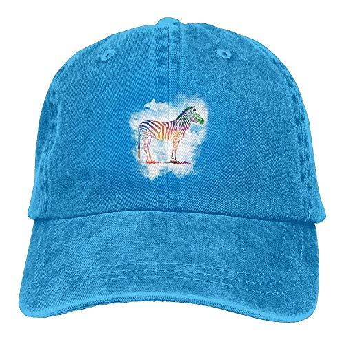 Presock Colorful Rainbow Zebra Denim Hat Adjustable Men's Plain Baseball Hat - Zebra Bottle Cap