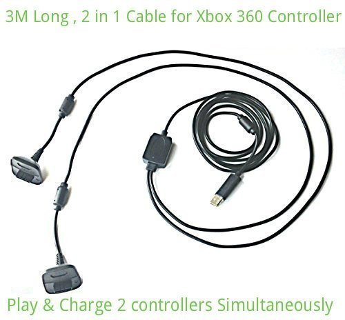 2 in1 3M Lungo USB Gioca e Ricarica Caricabatterie Cavo Di Piombo per Xbox 360 Joystick Pad Gamepad Joypad Joystick By AirBot