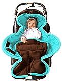 ByBoom - Ganzjahres Fußsack Cocoon für Kinderwagen, Buggy auch Babyschale z.B. Maxi-Cosi; MADE IN EU, Farbe:Braun/Aqua