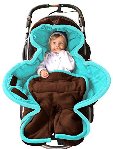 Preisvergleich Produktbild ByBoom - Ganzjahres Fußsack Cocoon für Kinderwagen, Buggy auch Babyschale z.B. Maxi-Cosi; MADE IN EU, Farbe:Braun/Aqua