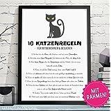 10 KATZENREGELN - HAUSORDNUNG lustiger Kunstdruck in DIN A4 mit schwarzen Rahmen als perfekte Geschenkidee für Katzenliebhaber zum Geburtstag, Jahrestag, Hochzeitstag oder zum Einzug