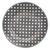 Krasilnikoff Essteller dunkelgrau mit weißen Punkten