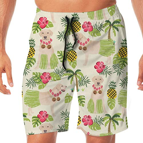 OOworld Men's Swim Trunks Yellow Lab Hula Fabric Summer Tropical Labrador Design - Cream_2850 Quick Dry Beach Wear Shorts Swimwear with Pockets,L 2 Pocket-lab