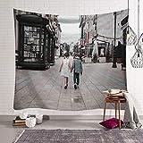 mmzki Fille Coeur Nordic Européenne Ville Chambre Décor Tissu Tapisserie Mur Couverture Murale Suspendus Tissu Fond GT-000535 150x130