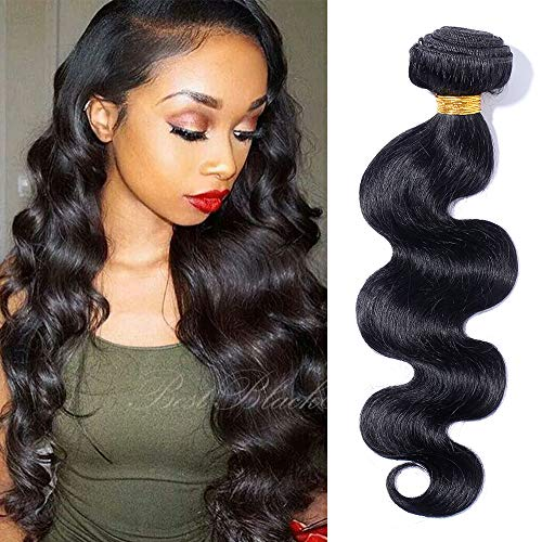 50cm Extension Capelli Veri Tessitura Unprocessed 1 bundle 100g 20 pollici Estensioni per Capelli Mossi Lunghi Matassa Virgin Human Hair Body Wave Nero Naturale 1B#