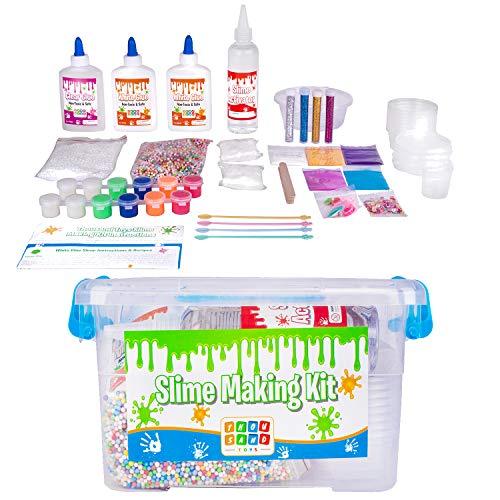 Schleim selber machen Set- Machen Sie Ihr eigenes Slime Set für Mädchen&Jungen- Slime Set zum selbermachen - Slime fluffy leuchtet im Dunkeln,glitzert,funkelt- Erfinder-& Galaxienslime (Schritt 2 Toy Box)