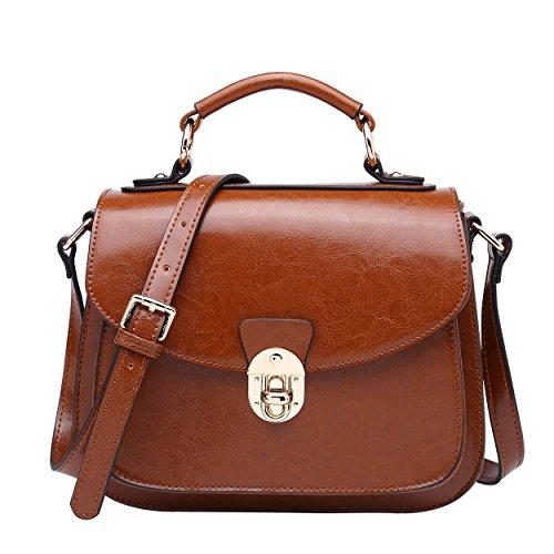 b9b0389397a15 BOYATU Womens Leder Handtaschen Umhängetasche Top Griff Tote Satchel für  Damen (Brown-B)
