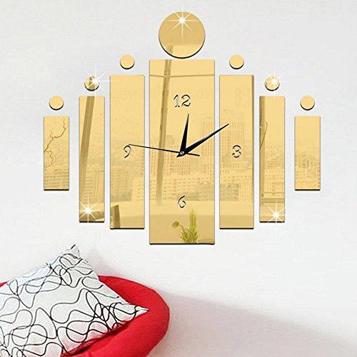 Forepin® Modern Design 3D DIY Acrylic Plastic Mirro Big Sticker Wall Watch  Clock Home Decor Living Room Decoration Gold Wall Clock Design, Pattern 11