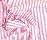 0,5m Leichter Blusenstoff Seersucker - rosa Streifen