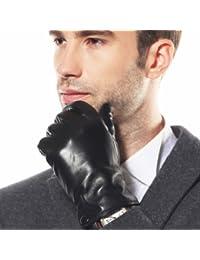 Warmen - Gants Mitaines en Cuir Véritable pour Homme - Design Classique