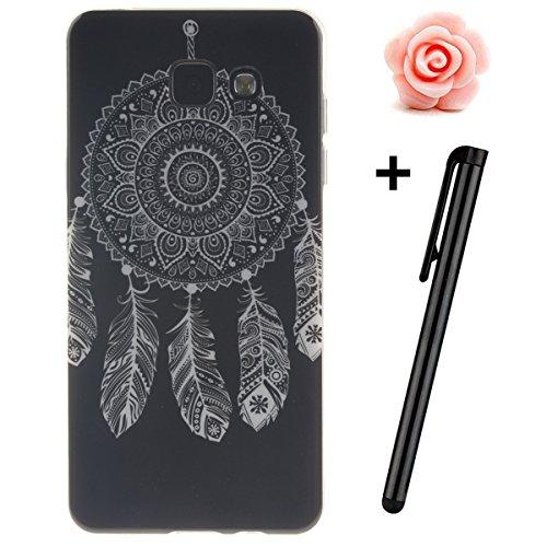 Custodia per Samsung Galaxy A32015, in morbido TPU, ultra sottile, trasparente, flessibile, SM-A300, TOYYM, colorata con disegno stampato, protettiva, motivo: fiore, con penna antipolvere Black Dreamcatcher