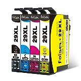 Foiset 4er Pack Ersatz für Eposn 29XL Tintenpatrone Kompatibel mit Eposn XP-342 XP-442 XP-235 XP-432 XP-432 XP-445 XP-435 XP-245 XP-445 XP-345 Drucker (1 Schwarz, 1 Cyan, 1 Magenta, 1 Gelb)