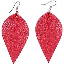 Conysan Lágrima roja Forma de Hoja Cuero de Vacuno Pendientes Anillos de oídos Raya de Litchi Anillos de oídos Pendientes (Hojas)