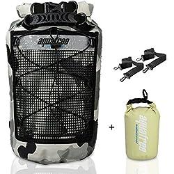 Aquafree Dry bag camo–Sacco a pelo a compressione impermeabile mantiene Gear Dry per kayak, spiaggia, rafting, canottaggio, escursioni, campeggio e pesca con 2L Aquafree Dry Sack, Grey, 18L