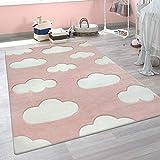 Tappeto per Cameretta dei Bambini Grazioso Colori Pastello Motivo con Nuvole Pelo Corto in Rosa e Bianco, Dimensione:80x150 cm