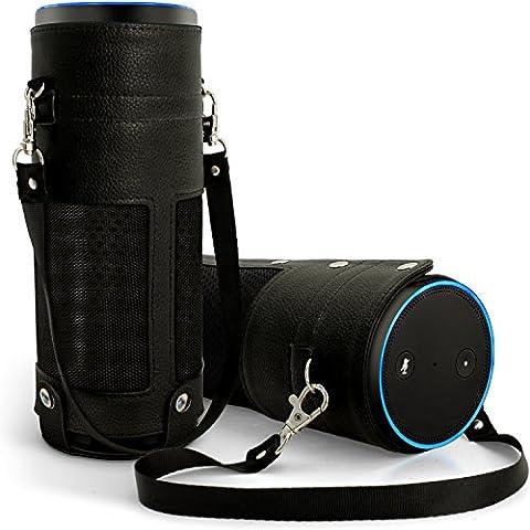 igadgitz Nero PU Pelle Custodia da Viaggio per Amazon Echo Cover Manicotto con Tracolla Staccabile