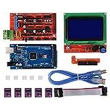 PoPprint - Ramps, controller 1.4 con Mega2560 R3 e modulo di controllo con smart display LCD 12864, set di 5 pezzi DRV8825, modulo driver motore passo-passo per stampante RepRap 3D