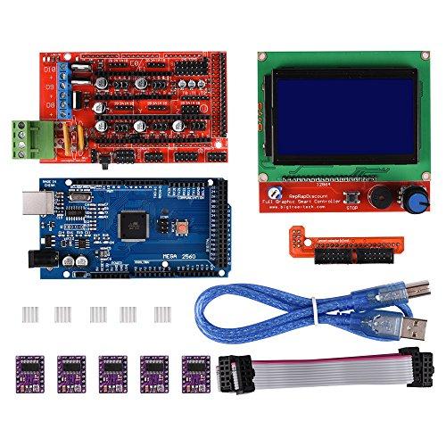 PoPprint, RAMPS 1.4Controller mit MEGA2560R3mit LCD 12864-Smart-Display-Controller-Modul, 5Stück, DRV8825-Treiber für Stepper-Motor, Driver-Modul für 3D RepRap-Drucker (Gb Module Kit)