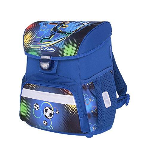 herlitz 50007950 Schulranzen Loop Plus, Klickschloss, ergonomisches Rückenpolster, 16-teiliges Schüleretui, Sportbeutel, Faulenzer rund, Motiv: Soccer, 1 Stück - 3