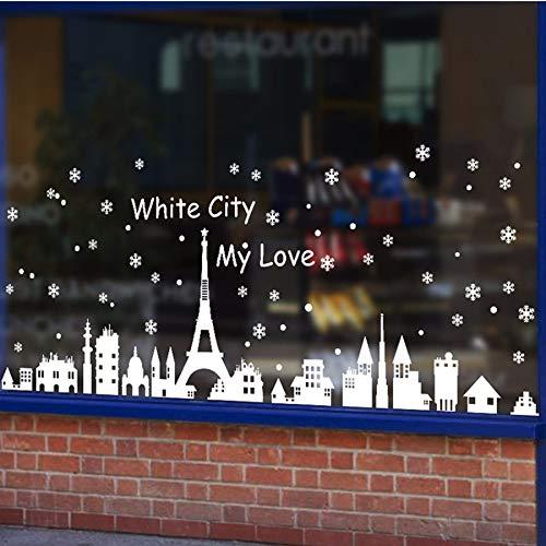 Xzfddn 60X90Cm Weihnachtsgeschenk Wand Dekor Schneeflocke Weihnachtsdekoration Schaufenster Stadt Wandaufkleber