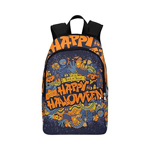Happy Halloween Retro Stil Doodle Kreative Lässige Daypack Reisetasche College School Rucksack Für Männer und Frauen