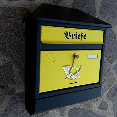 Großer Briefkasten / Postkasten XXL Schwarz Gelb Matt mit Zeitungsrolle Zeitungsfach Schrägdach...