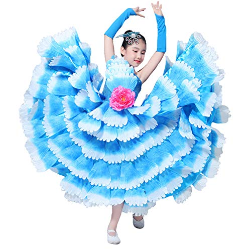 (Lolanta Kinder Flamenco-Tanzkostüm mit Blütenblättern, Spanisches Flamenco-Kleid XXL Blue -360)