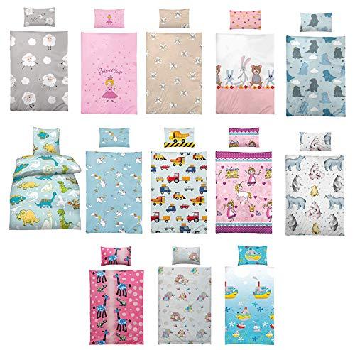 Wasserbetten-Markenshop Kinder Bettwäsche 100 x 135 cm + Kissen 40 x 60 cm 100% Microfaser, mit Verschiedenen Motiven - Kinderbettwäsche-Set, Babybettwäsche, Lola Pink